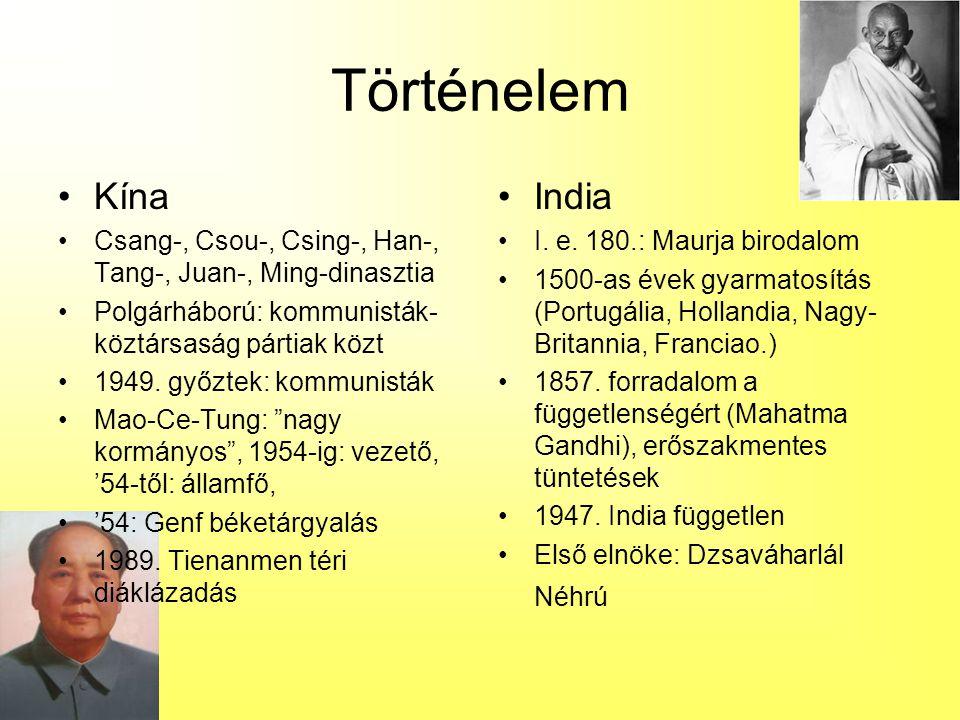 Történelem Kína. Csang-, Csou-, Csing-, Han-, Tang-, Juan-, Ming-dinasztia. Polgárháború: kommunisták-köztársaság pártiak közt.