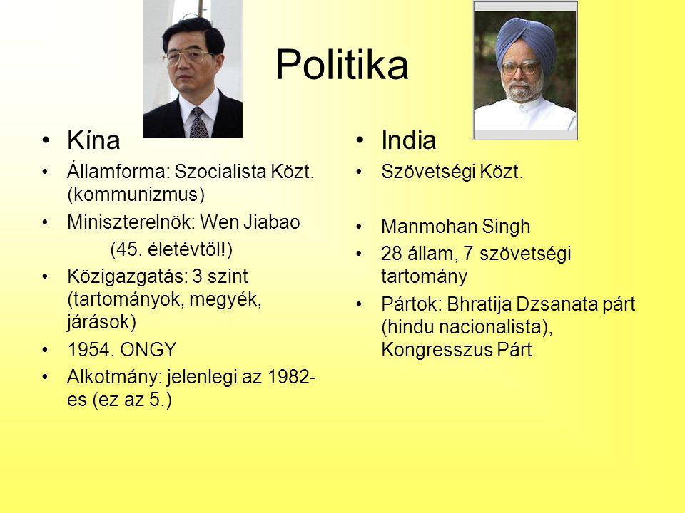 Politika Kína India Államforma: Szocialista Közt. (kommunizmus)