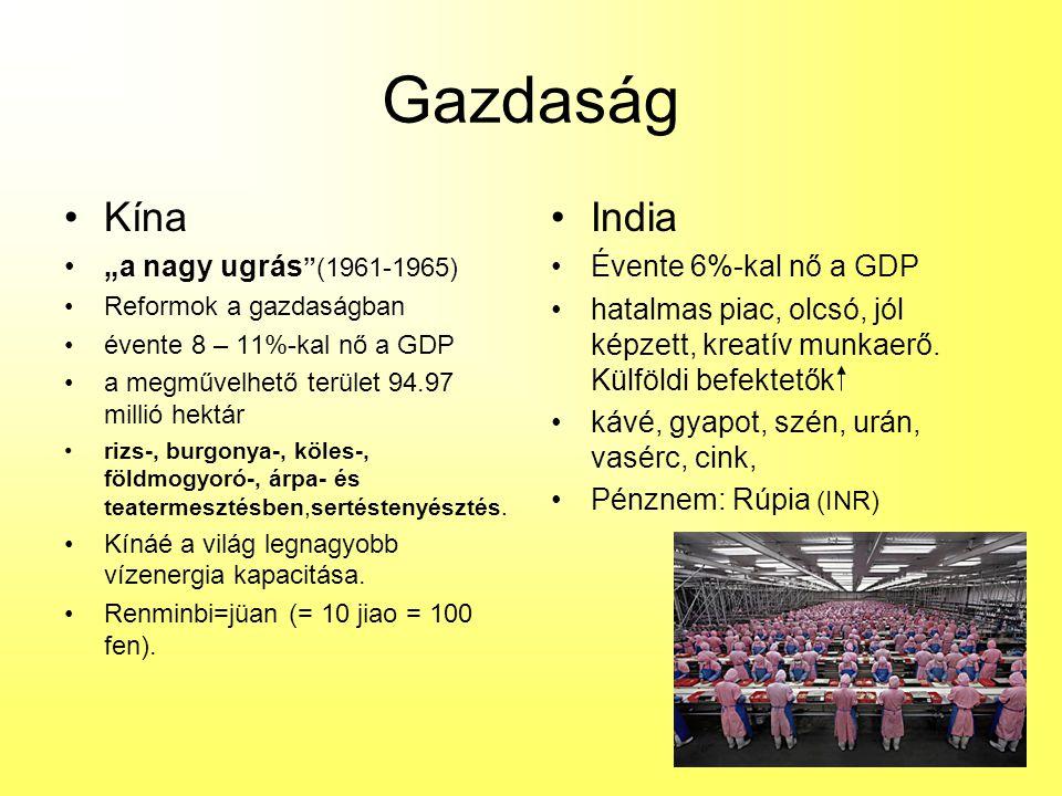 "Gazdaság Kína India ""a nagy ugrás (1961-1965) Évente 6%-kal nő a GDP"