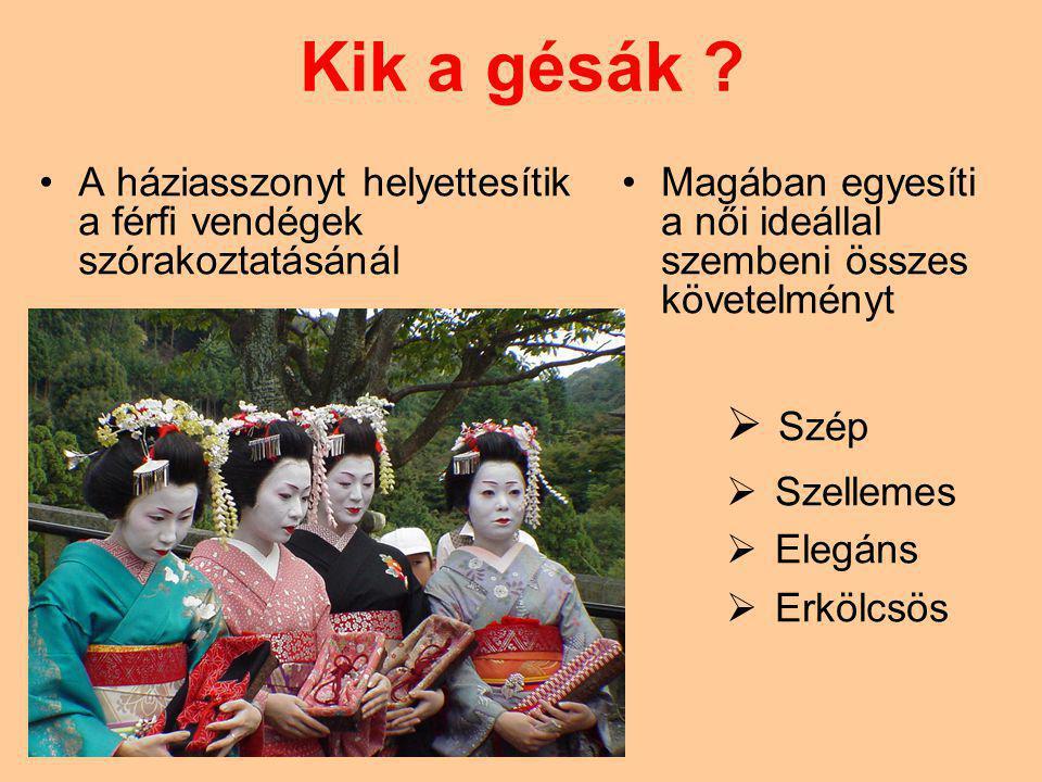 Kik a gésák A háziasszonyt helyettesítik a férfi vendégek szórakoztatásánál. Magában egyesíti a női ideállal szembeni összes követelményt.