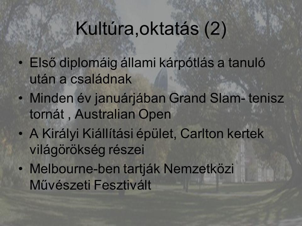 Kultúra,oktatás (2) Első diplomáig állami kárpótlás a tanuló után a családnak. Minden év januárjában Grand Slam- tenisz tornát , Australian Open.