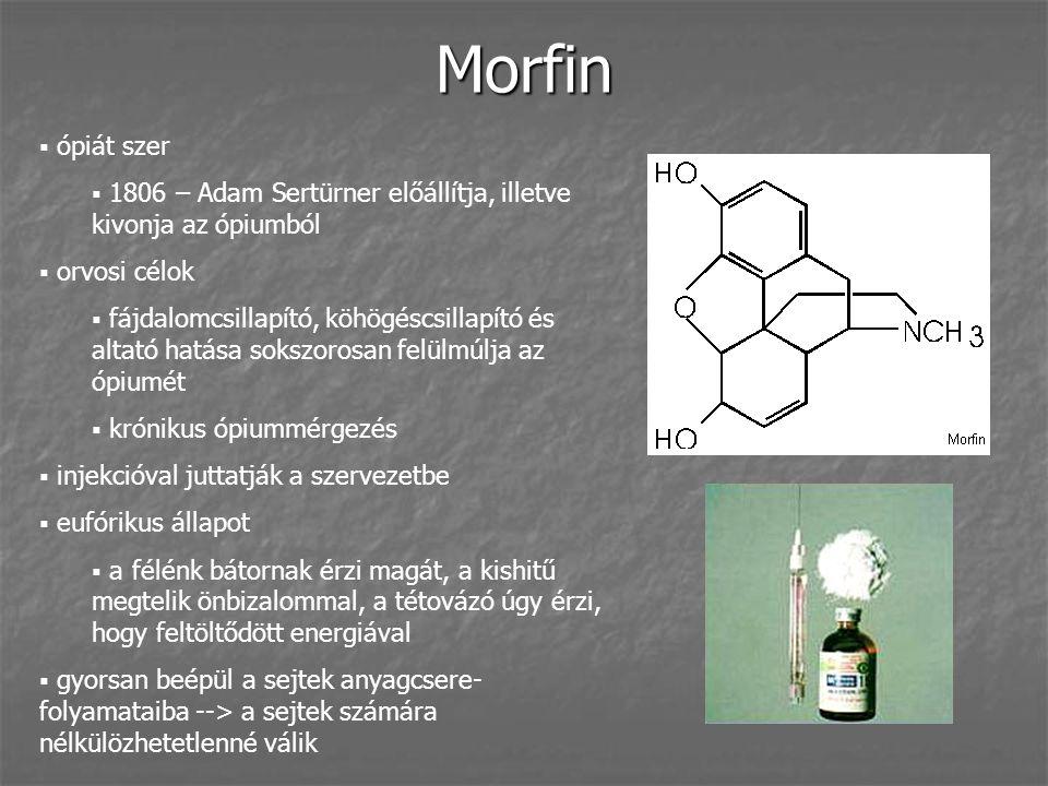 Morfin ópiát szer. 1806 – Adam Sertürner előállítja, illetve kivonja az ópiumból. orvosi célok.