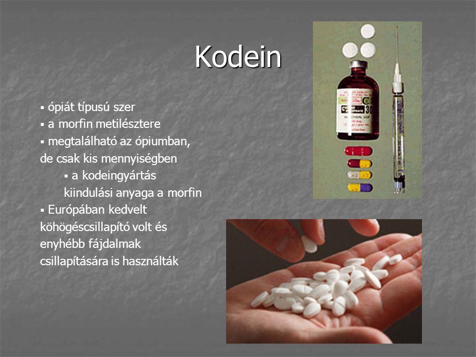 Kodein ópiát típusú szer a morfin metilésztere
