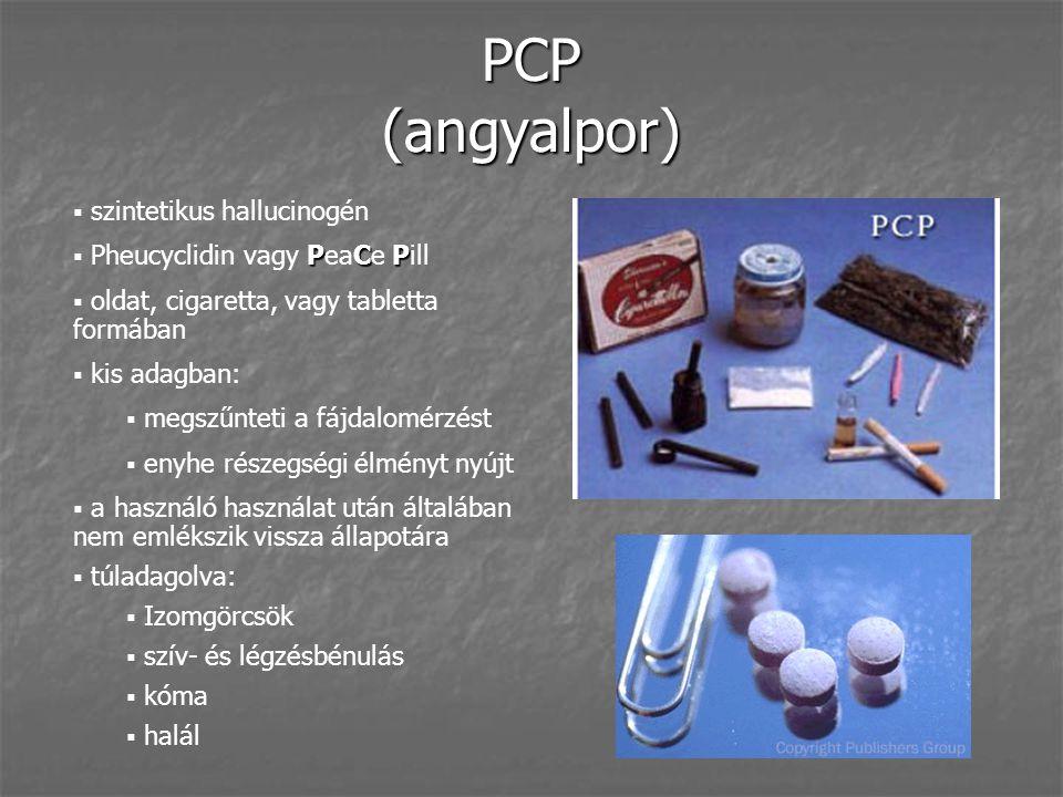 PCP (angyalpor) szintetikus hallucinogén Pheucyclidin vagy PeaCe Pill