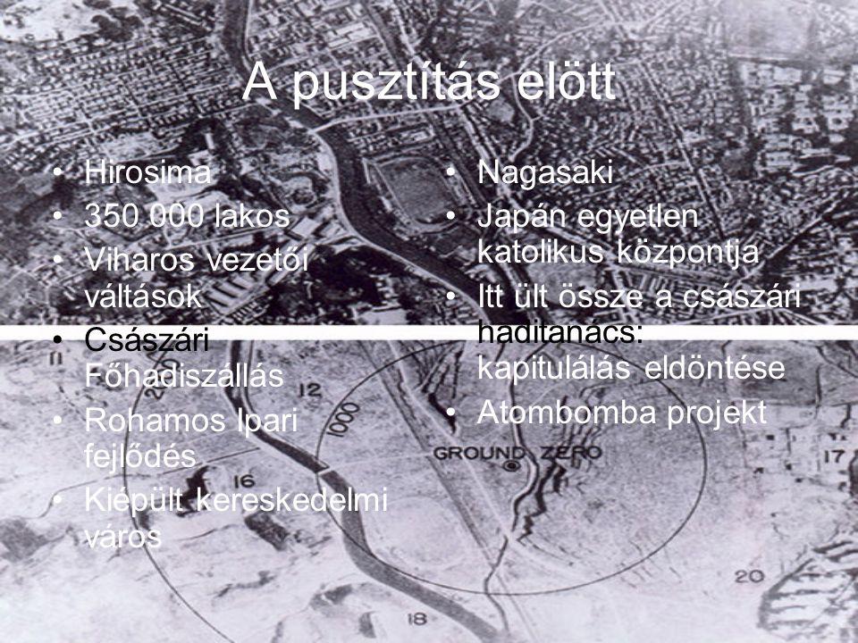 A pusztítás elött Hirosima 350 000 lakos Viharos vezetői váltások