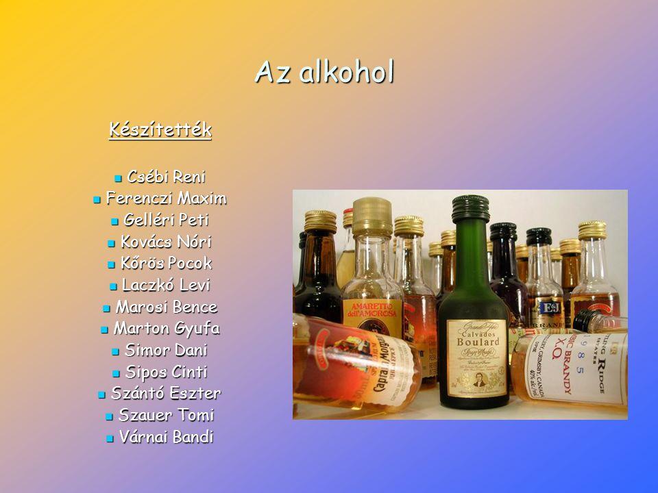 Az alkohol Készítették Csébi Reni Ferenczi Maxim Gelléri Peti