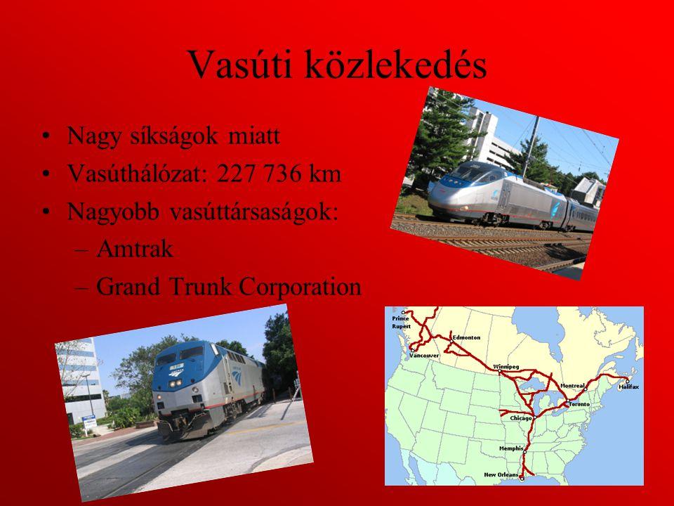 Vasúti közlekedés Nagy síkságok miatt Vasúthálózat: 227 736 km