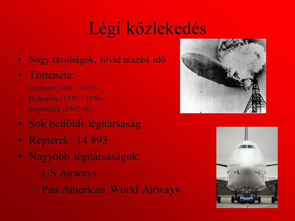 Légi közlekedés Története: Sok belföldi légitársaság Repterek: 14 893