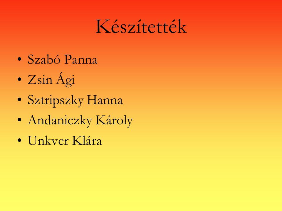 Készítették Szabó Panna Zsin Ági Sztripszky Hanna Andaniczky Károly