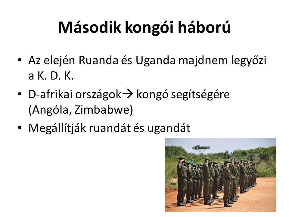 Második kongói háború Az elején Ruanda és Uganda majdnem legyőzi a K. D. K. D-afrikai országok kongó segítségére (Angóla, Zimbabwe)