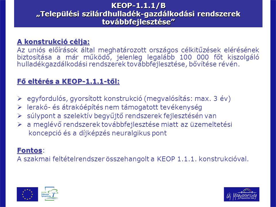 """KEOP-1.1.1/B """"Települési szilárdhulladék-gazdálkodási rendszerek továbbfejlesztése"""