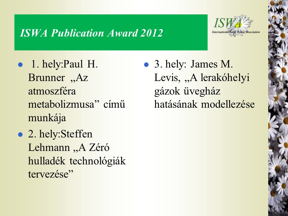 ISWA Publication Award 2012
