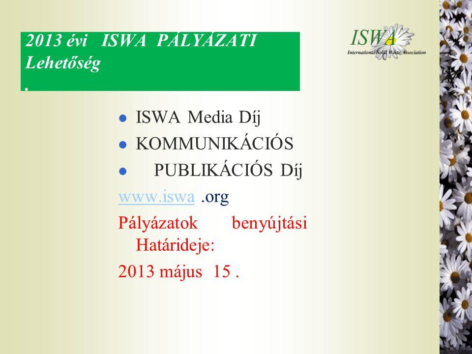 2013 évi ISWA PÁLYÁZATI Lehetőség .