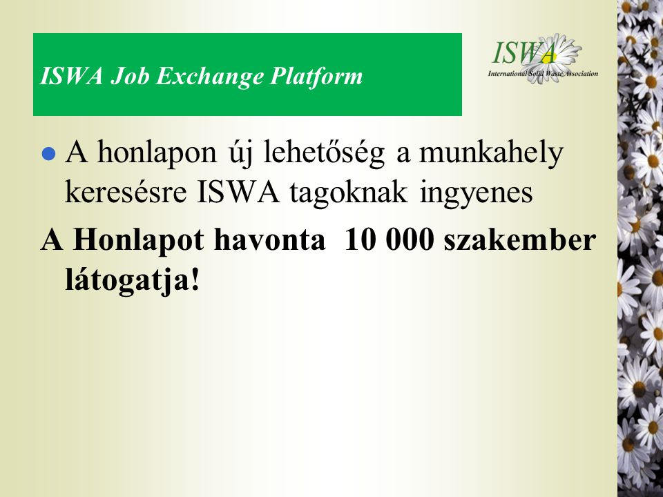ISWA Job Exchange Platform
