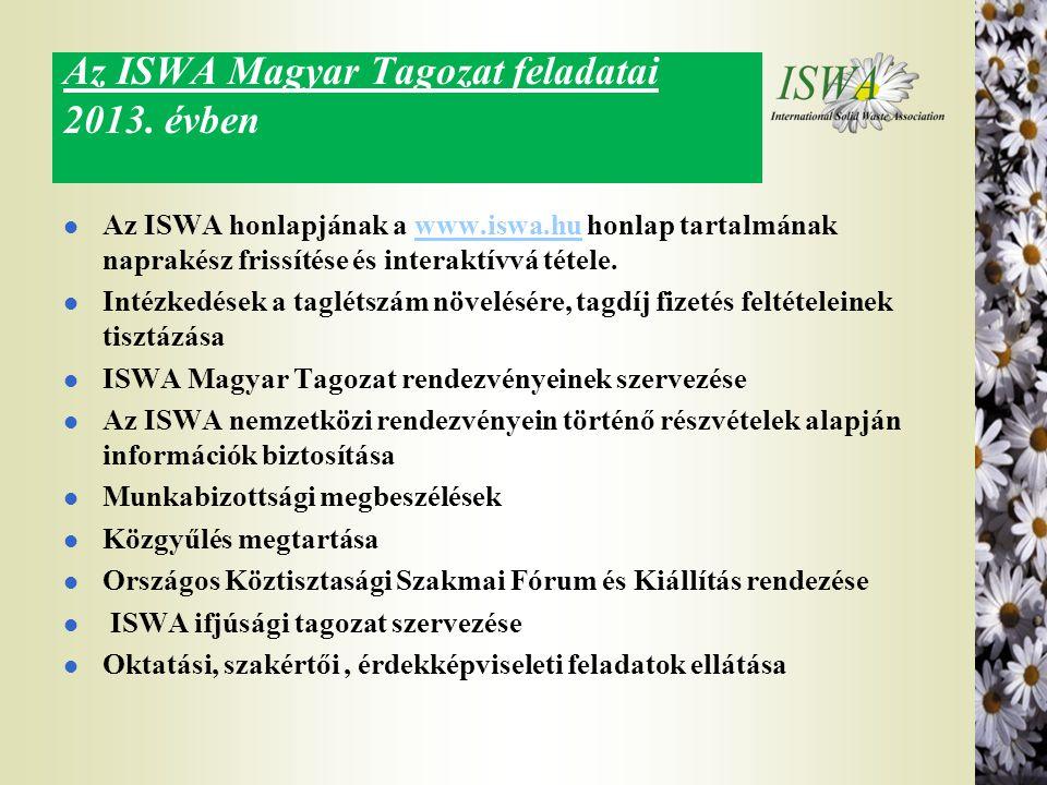 Az ISWA Magyar Tagozat feladatai 2013. évben