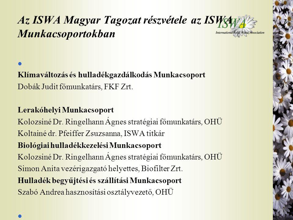 Az ISWA Magyar Tagozat részvétele az ISWA Munkacsoportokban