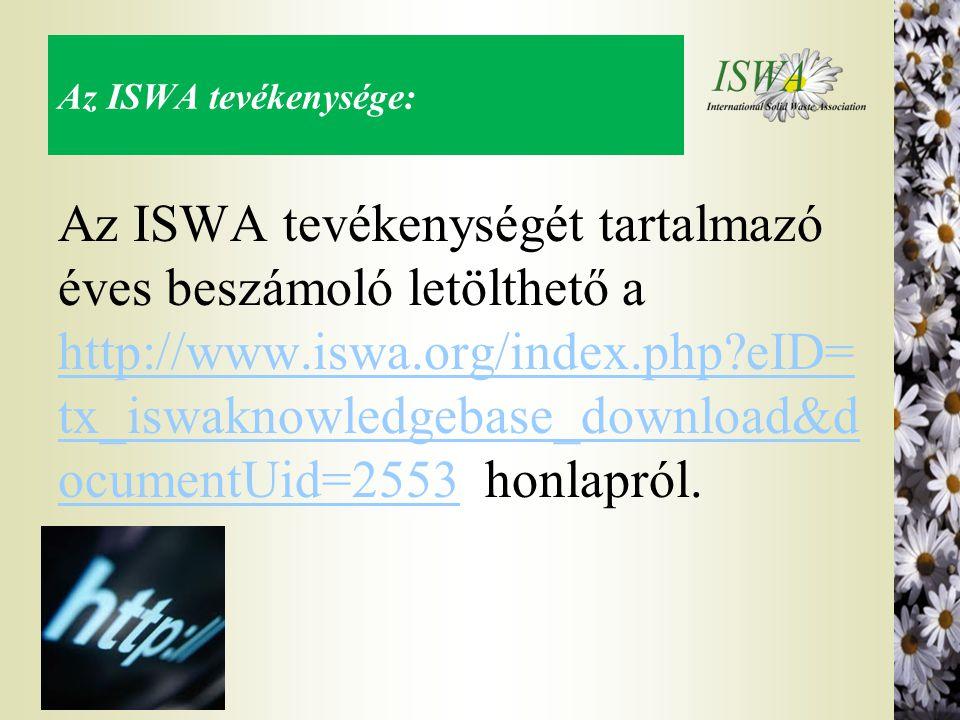 Az ISWA tevékenysége: