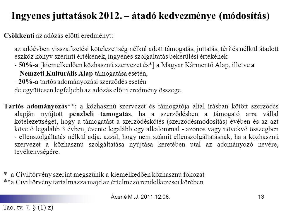 Ingyenes juttatások 2012. – átadó kedvezménye (módosítás)