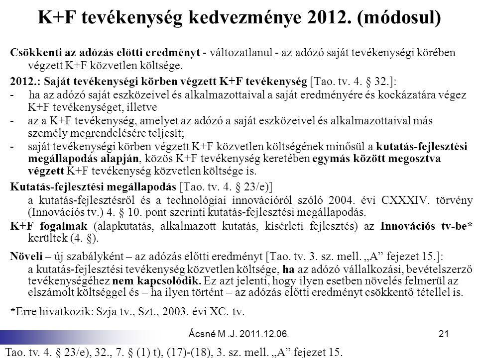 K+F tevékenység kedvezménye 2012. (módosul)