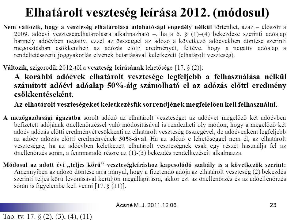 Elhatárolt veszteség leírása 2012. (módosul)