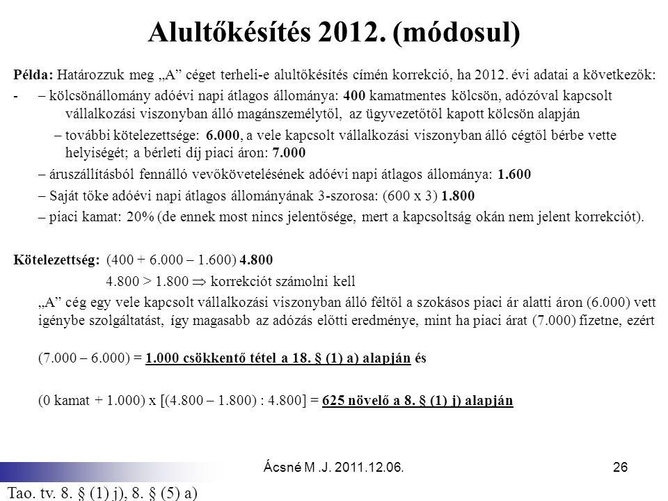 Alultőkésítés 2012. (módosul)