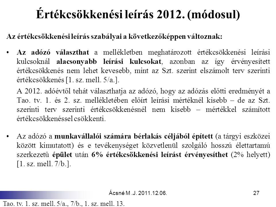 Értékcsökkenési leírás 2012. (módosul)