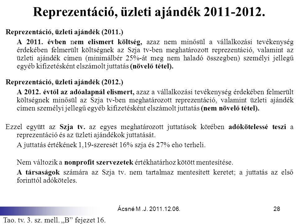 Reprezentáció, üzleti ajándék 2011-2012.