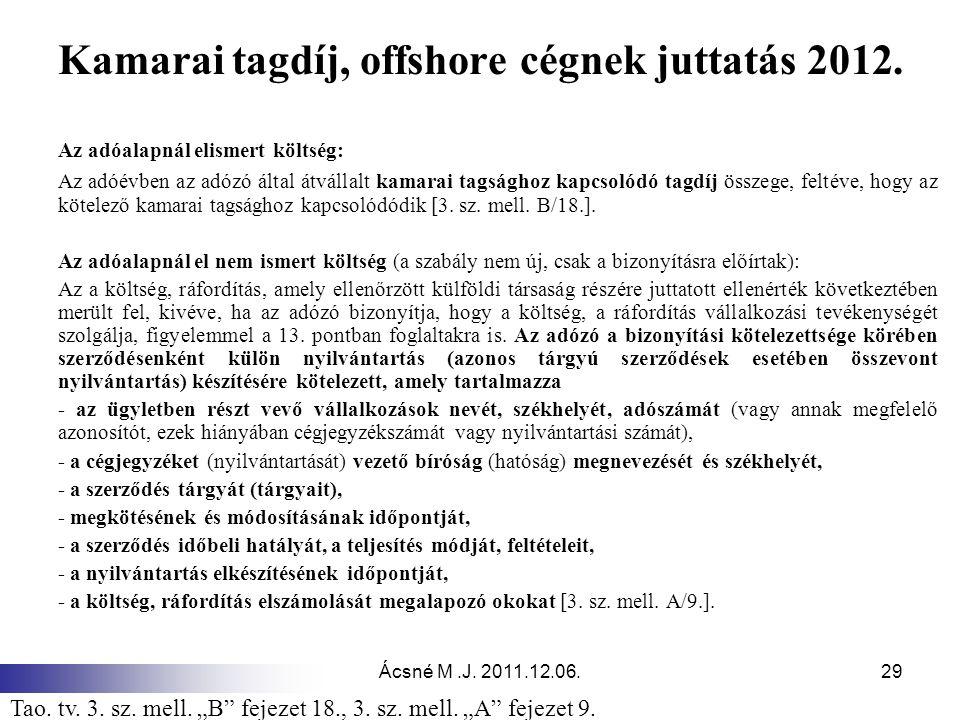 Kamarai tagdíj, offshore cégnek juttatás 2012.