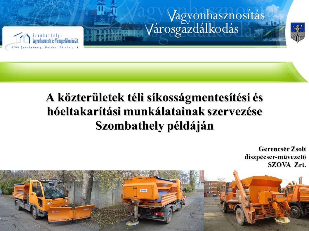 A közterületek téli síkosságmentesítési és hóeltakarítási munkálatainak szervezése Szombathely példáján