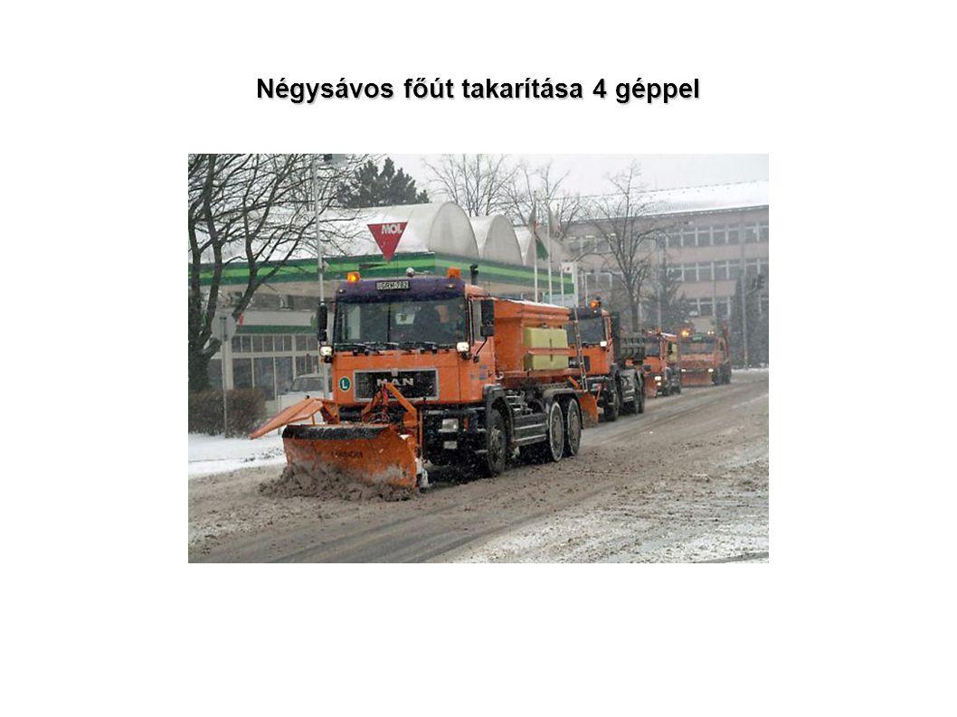 Négysávos főút takarítása 4 géppel