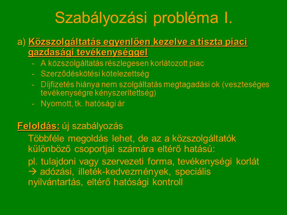 Szabályozási probléma I.