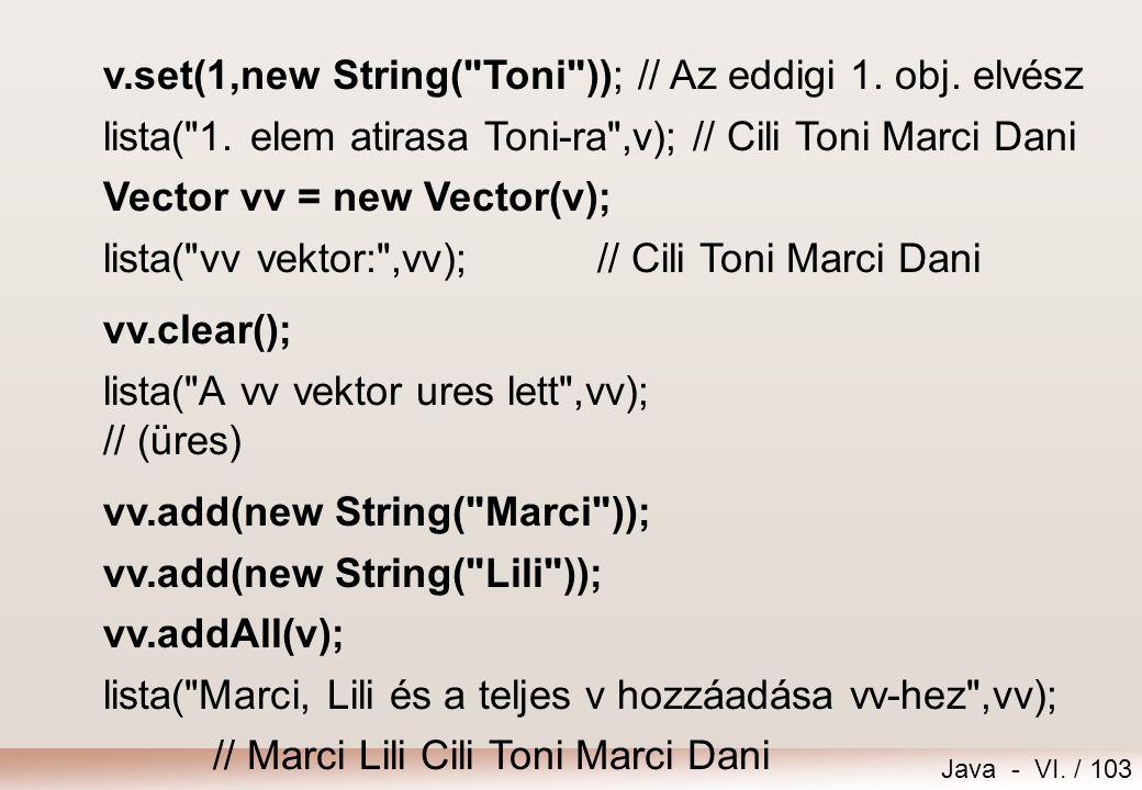 v.set(1,new String( Toni )); // Az eddigi 1. obj. elvész