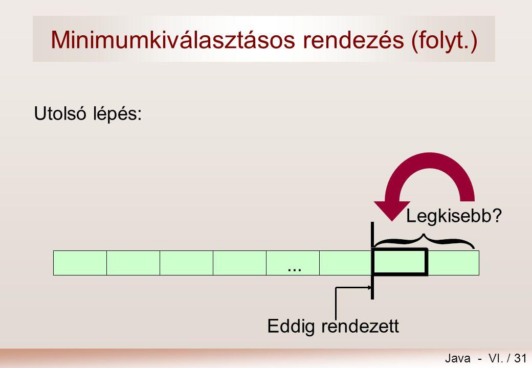 Minimumkiválasztásos rendezés (folyt.)