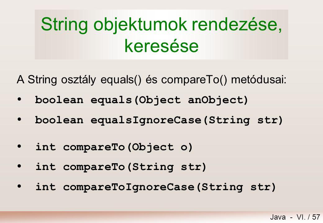 String objektumok rendezése, keresése