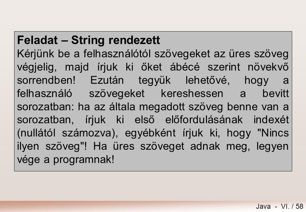 Feladat – String rendezett
