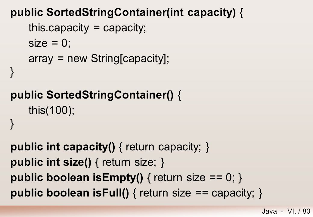 public SortedStringContainer(int capacity) {