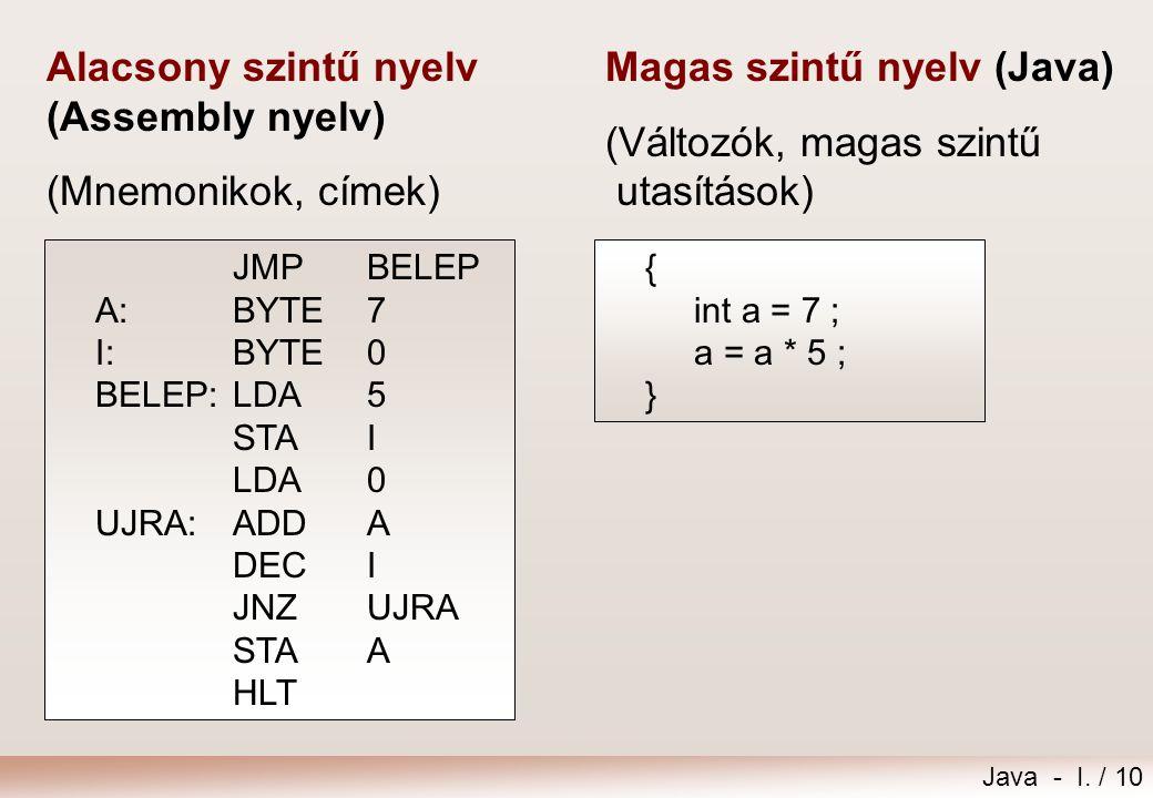 Alacsony szintű nyelv (Assembly nyelv) (Mnemonikok, címek)