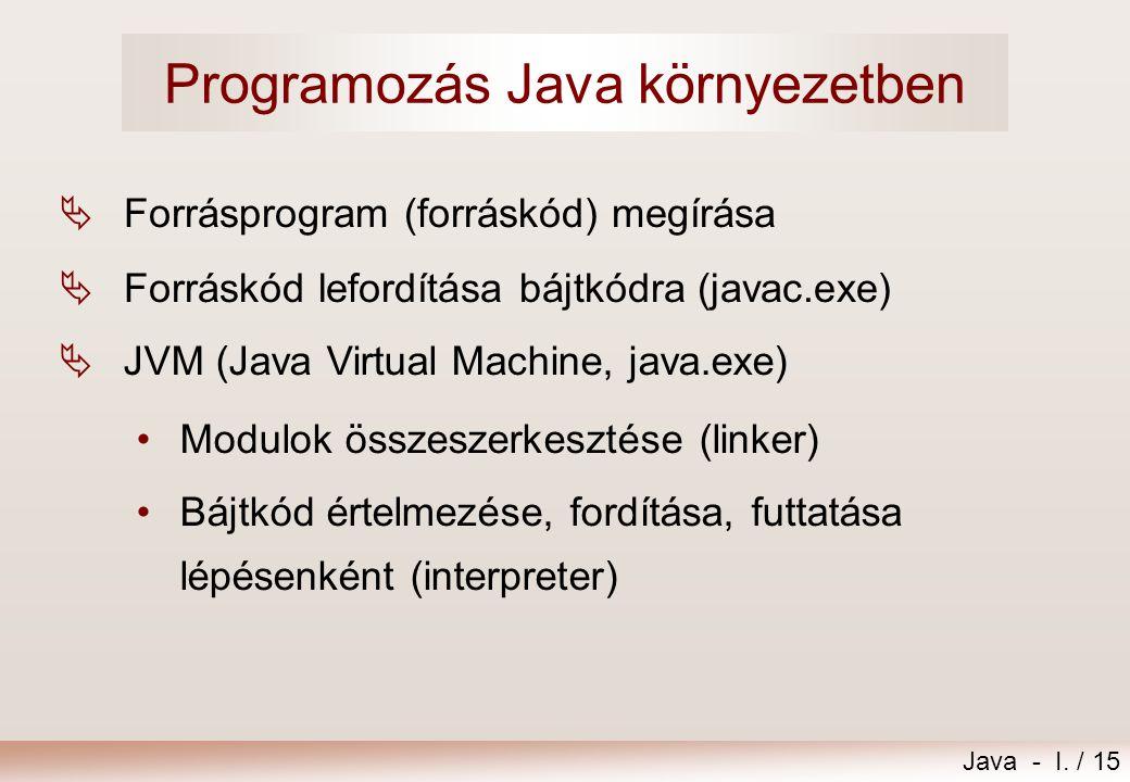Programozás Java környezetben