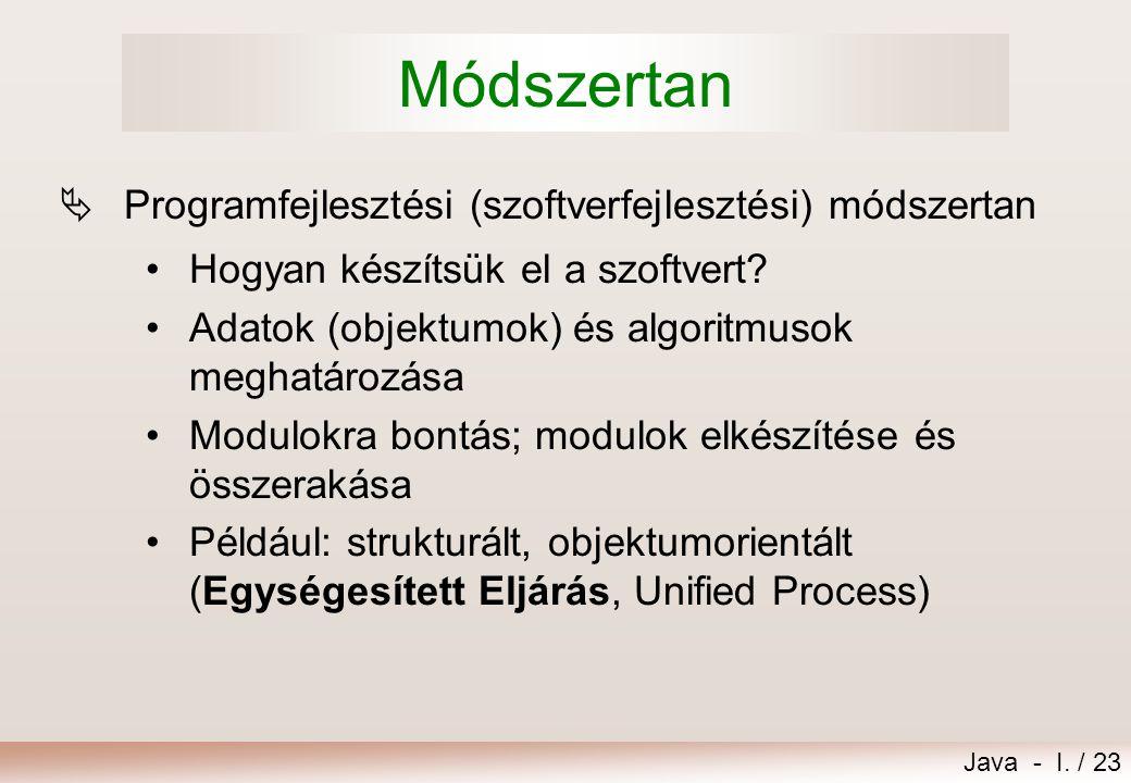Módszertan Programfejlesztési (szoftverfejlesztési) módszertan
