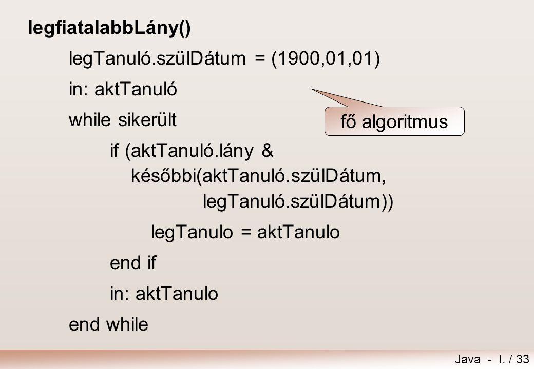 legfiatalabbLány() legTanuló.szülDátum = (1900,01,01) in: aktTanuló. while sikerült.