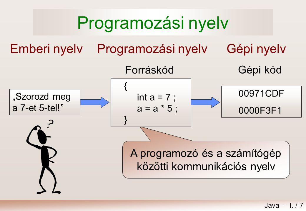 A programozó és a számítógép közötti kommunikációs nyelv