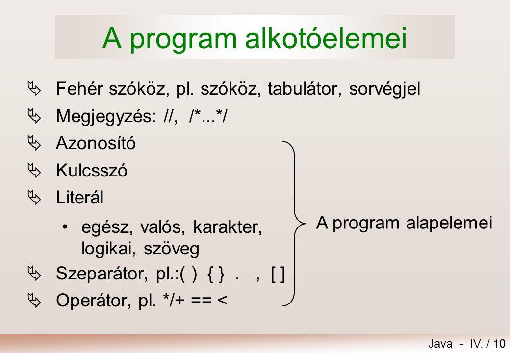 A program alkotóelemei
