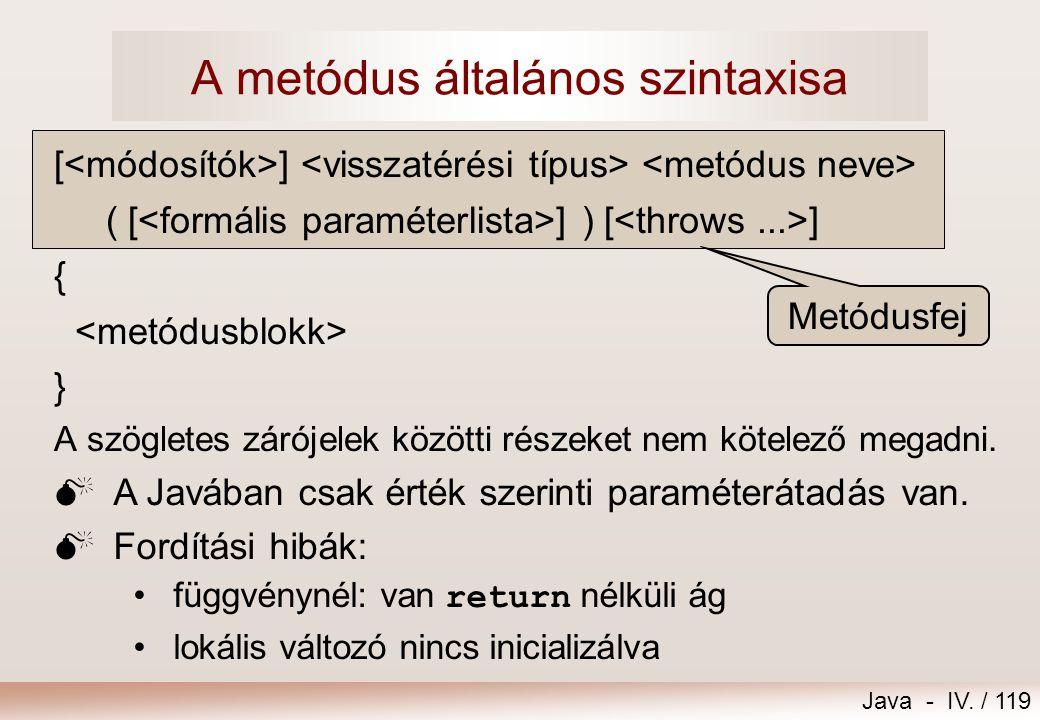 A metódus általános szintaxisa