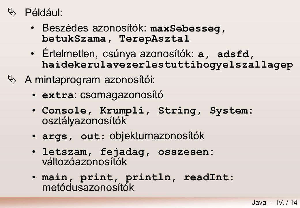 Például: Beszédes azonosítók: maxSebesseg, betukSzama, TerepAsztal.