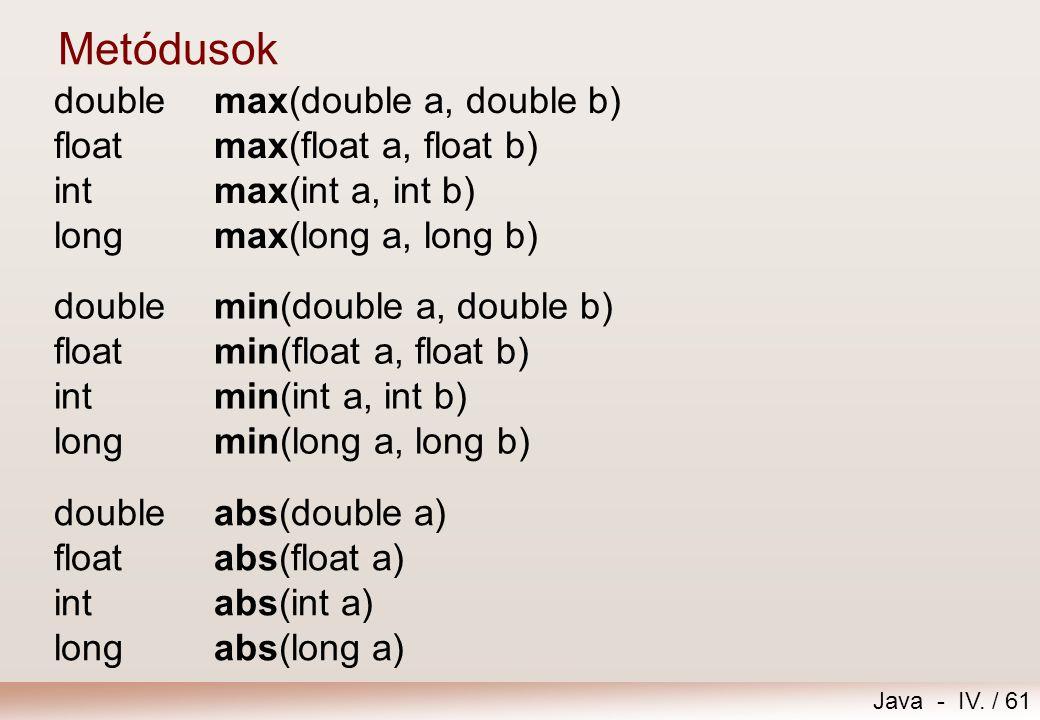 Metódusok double max(double a, double b) float max(float a, float b) int max(int a, int b) long max(long a, long b)