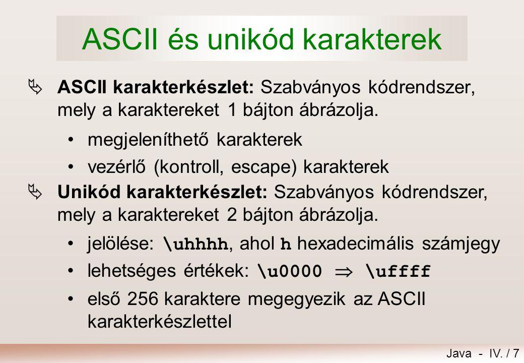ASCII és unikód karakterek