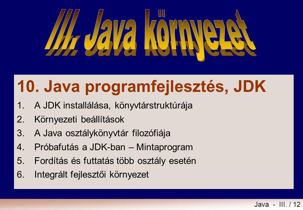 10. Java programfejlesztés, JDK
