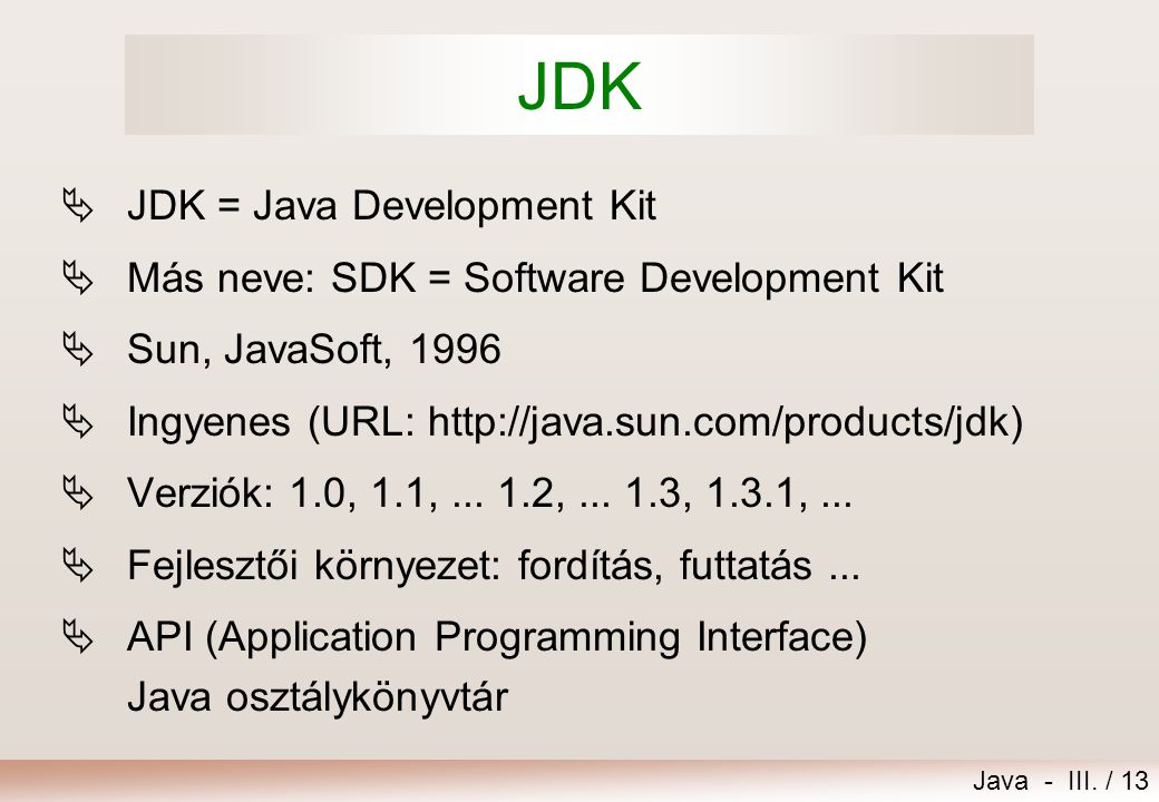 JDK JDK = Java Development Kit