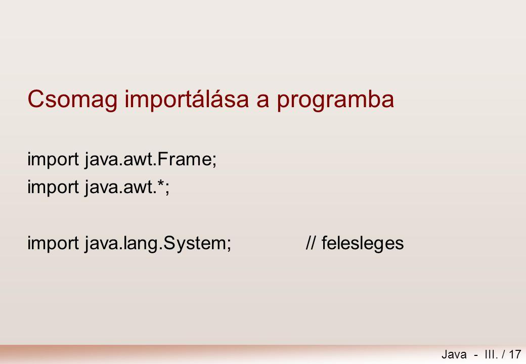 Csomag importálása a programba