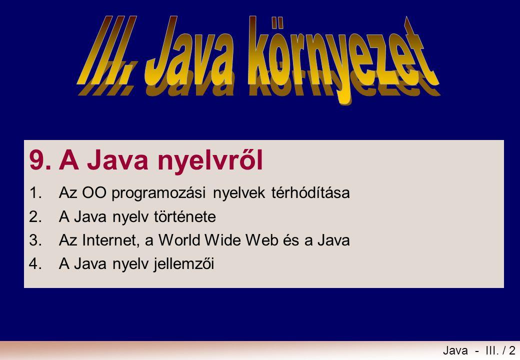9. A Java nyelvről III. Java környezet